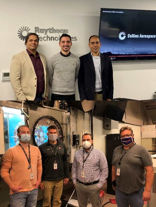 Up: Collins Aerospace – Applied Research and Technology team in Cork Ireland: Rohan Chabukswar, Giancarlo Gelao and El Hassan Ridouane. Down: Collins Aerospace – Ice Protection team in Ohio USA: Matthew Hamman, Andrew Taylor, Galdemir Botura and Michael Beyman