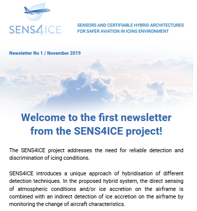 SENS4ICE project: newsletter No 1