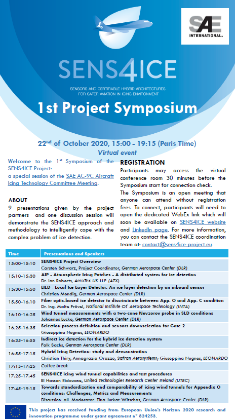 The 1st SENS4ICE Project Symposium leaflet and agenda.